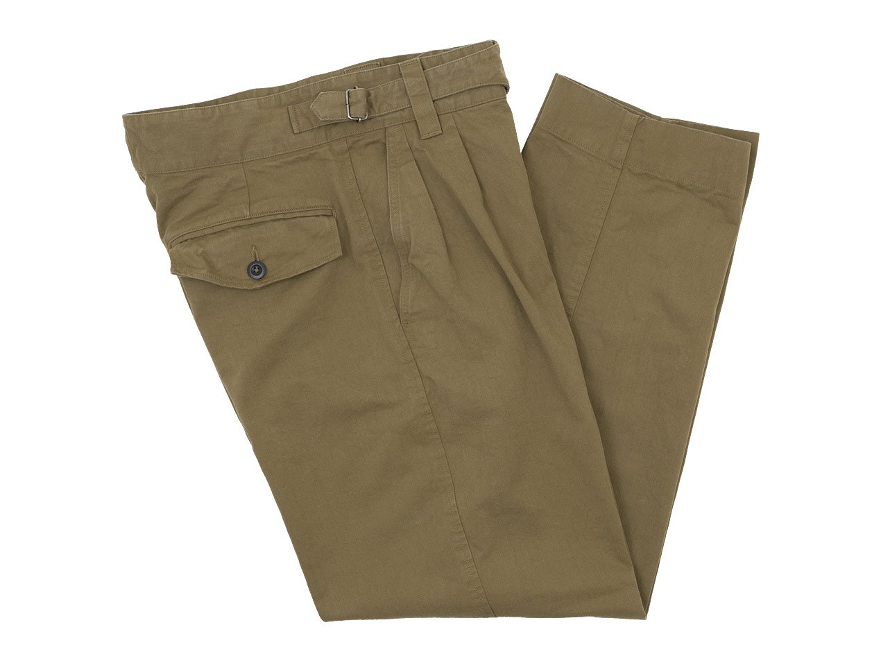 MHL. WORKWEAR COTTON DRILL CINCH FRONT TROOUSER 180KHAKI〔メンズ〕