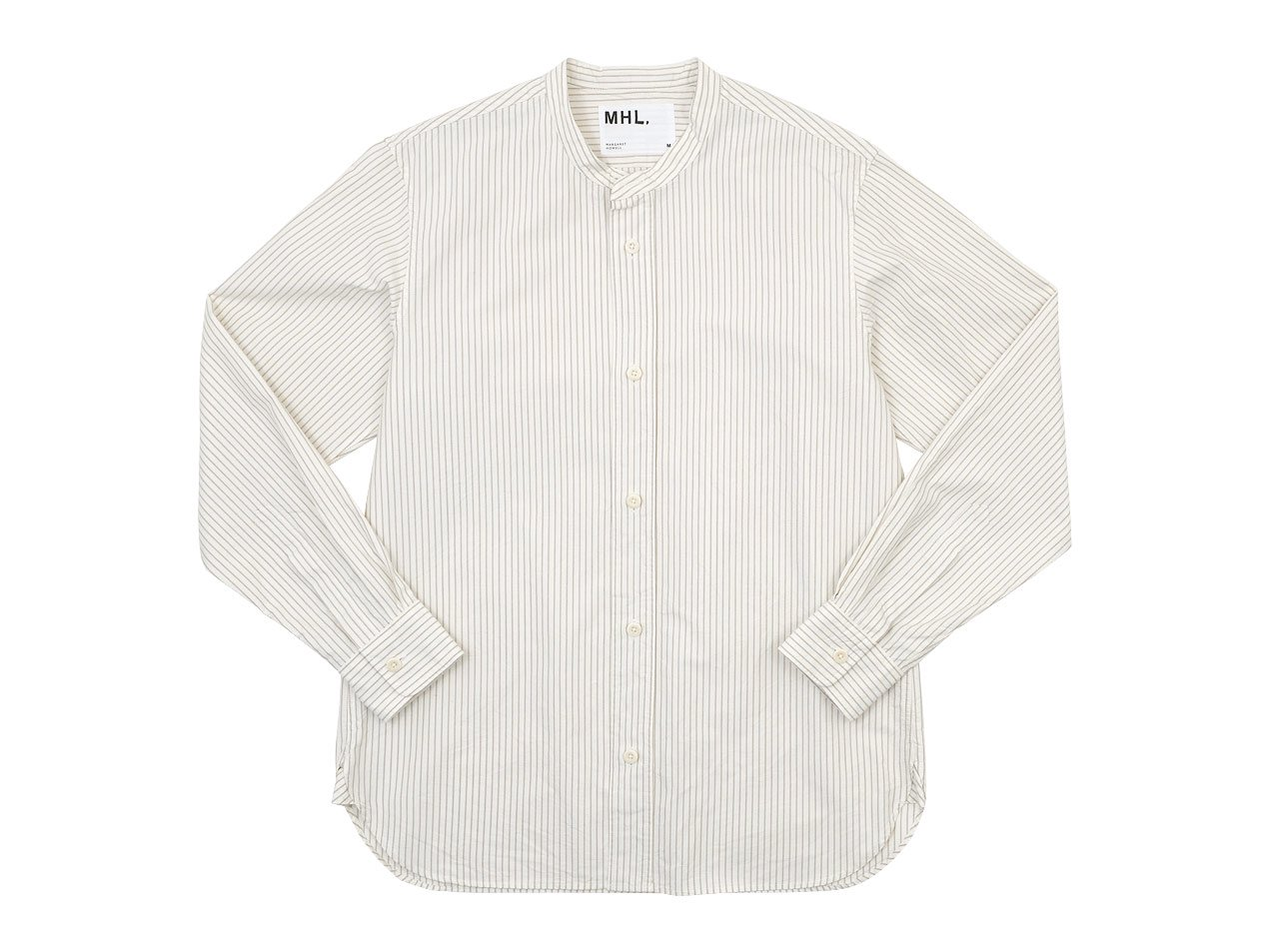 MHL. COMPACT COTTON STRIPE SHIRTS 030WHITE 〔メンズ〕