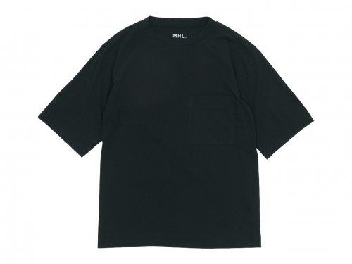 MHL. GARMENT DYE BASIC JERSEY T-SHIRTS 010BLACK 〔メンズ〕