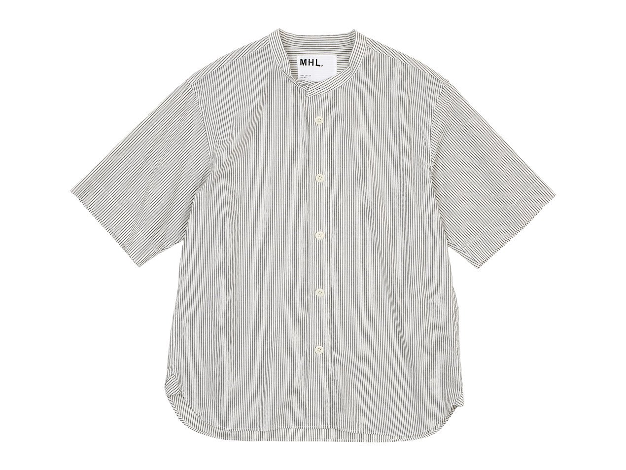MHL. COTTON LINEN STRIPE S/S SHIRTS 034WHITE 〔メンズ〕