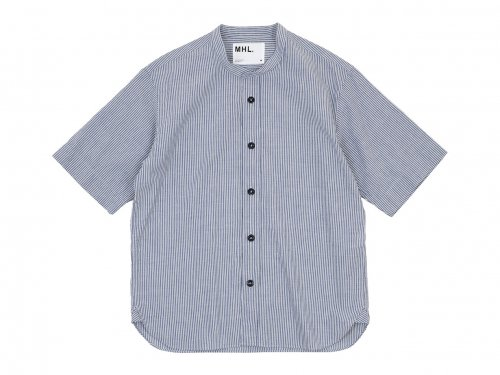 MHL. COTTON LINEN STRIPE S/S SHIRTS 117BLUE 〔メンズ〕