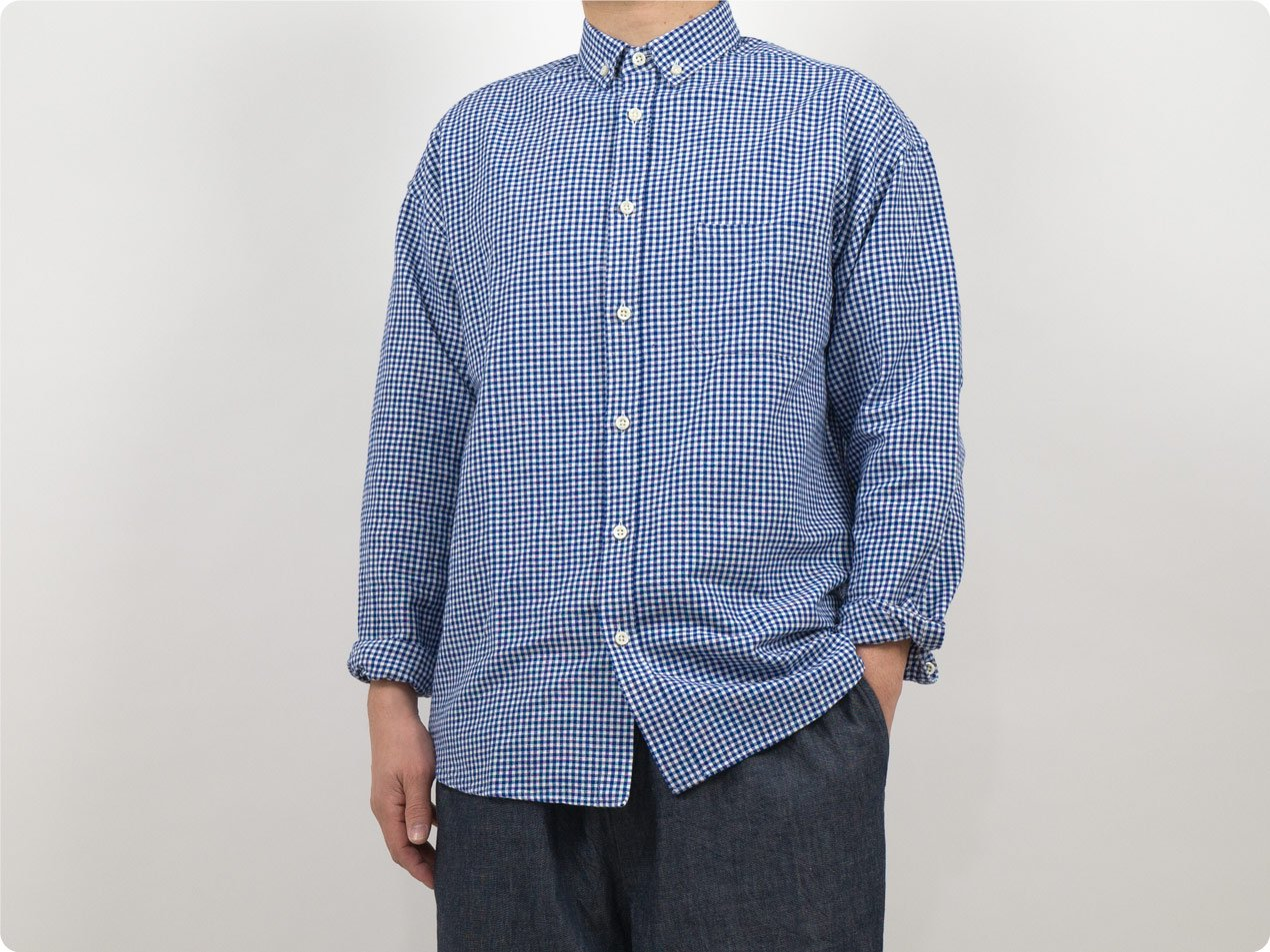 maillot sunset relax B.D. shirts BLUE GINGHAM