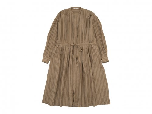 TOUJOURS Pin Tuck String Robe Dress CORK STRIPE【TM32FD01】