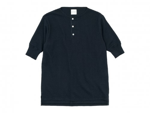 TOUJOURS Half Sleeve Henley Neck Shirt INK BLACK 【LM32XC04】