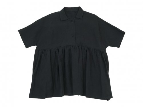 Lin francais d'antan Breton(ブルトン) Short Sleeve Shirts BLACK
