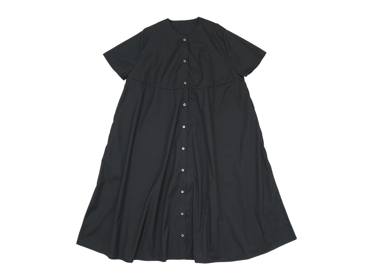 Lin francais d'antan Martinu(マルティヌー) Short Sleeve Bouton one-piece BLACK