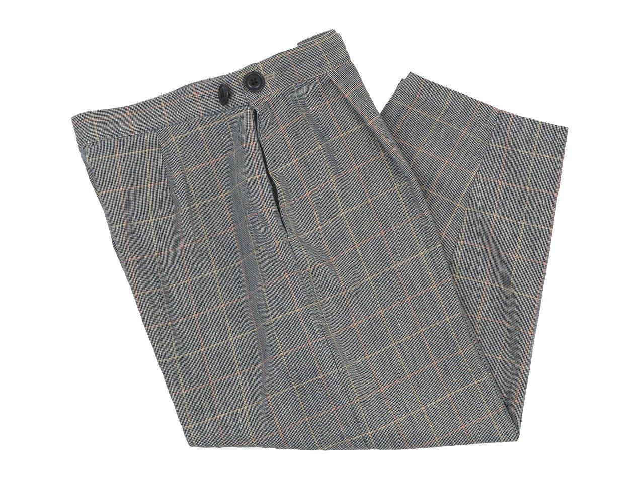 Atelier d'antan Salvador(サルヴァドール) tack pants Cotton Linen NAVY CHECK