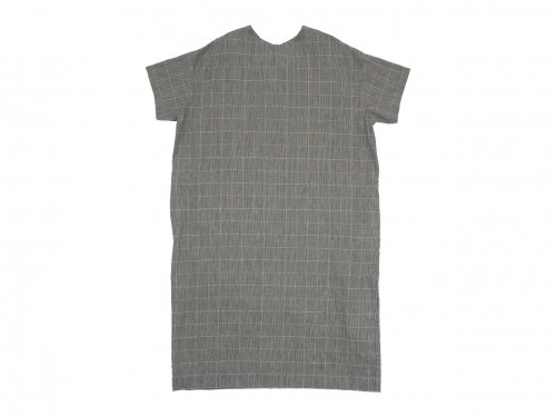 Atelier d'antan Torr(トール) Short Sleeve Pullover one-piece Cotton Linen NAVY CHECK