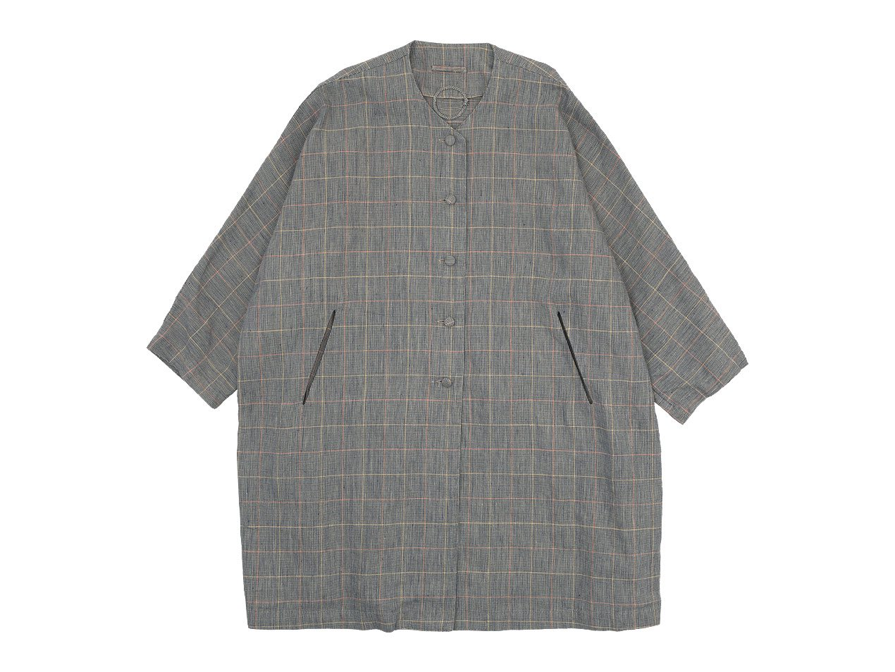 Lin francais d'antan Verlaine(ヴェルレーヌ) Oversaized Coat Cotton Linen NAVY CHECK