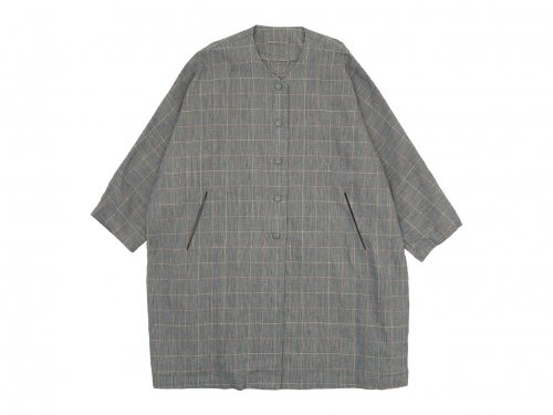 Lin francais d'antan Verlaine(ヴェルレーヌ) Oversaized Coat Cotton Linen NAVY CHECK