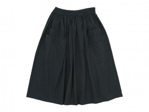 homspun コンパクトウェザー ダブルポケット ギャザースカート ブラック