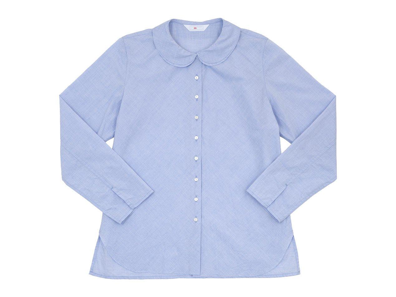 homspun 70/1シャンブレー フラットカラー バイアスブラウス ホワイト x ブルー