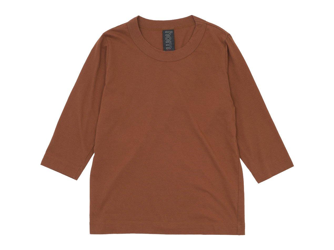 homspun 30/1天竺 七分袖Tシャツ ブラウン