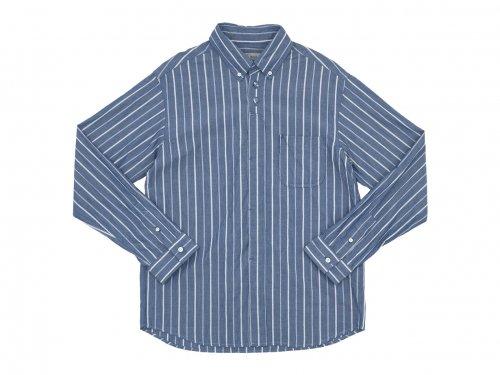 nisica ボタンダウンシャツ 長袖 ストライプ BLUE STRIPE