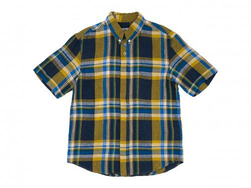 nisica ボタンダウンシャツ 半袖 チェック YELLOW CHECK