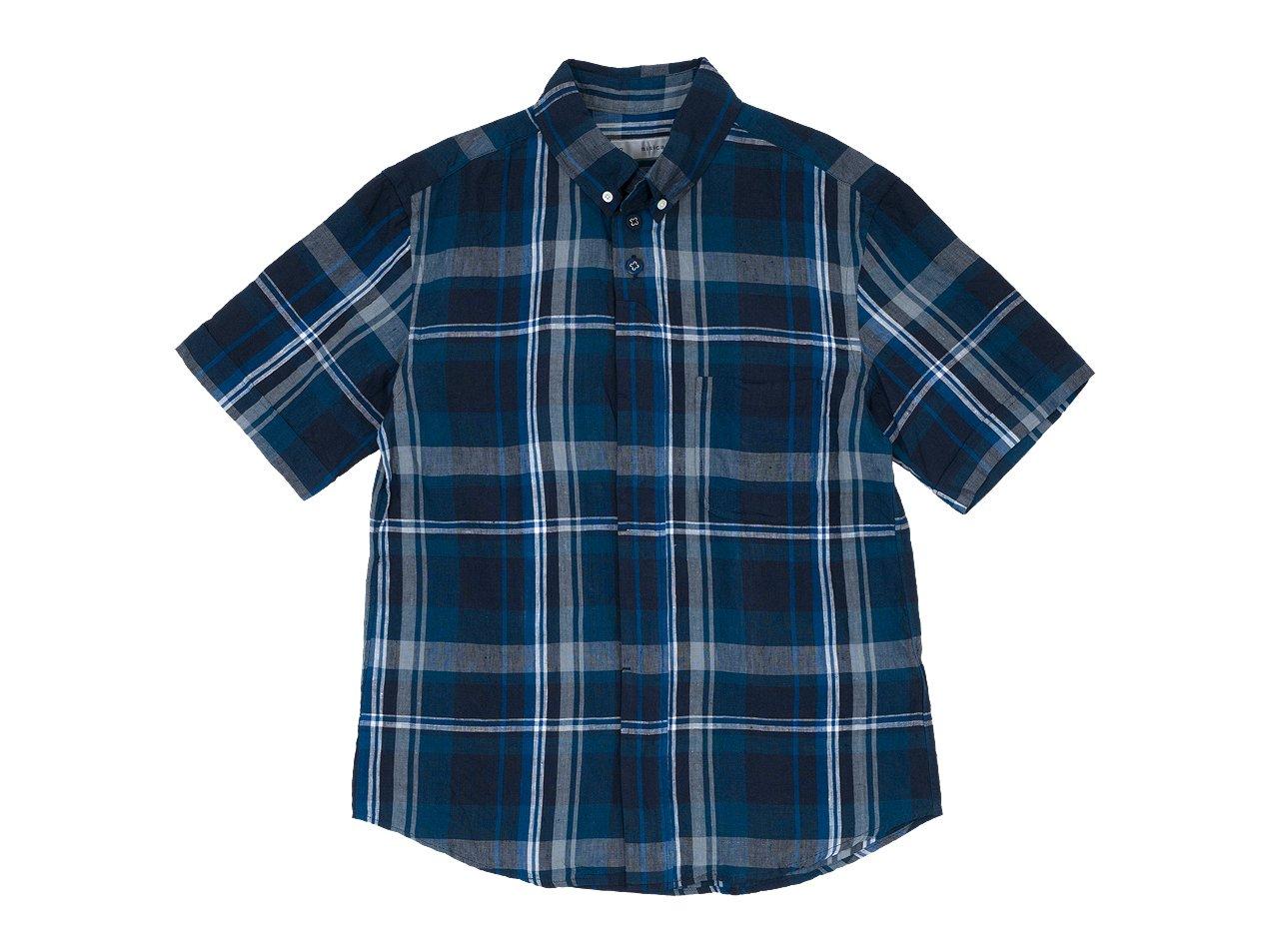 nisica ボタンダウンシャツ 半袖 チェック NAVY CHECK