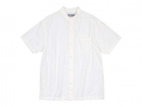 nisica バンドカラーシャツ 半袖 WHITE