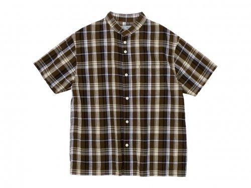 nisica バンドカラーシャツ 半袖 チェック BROWN CHECK