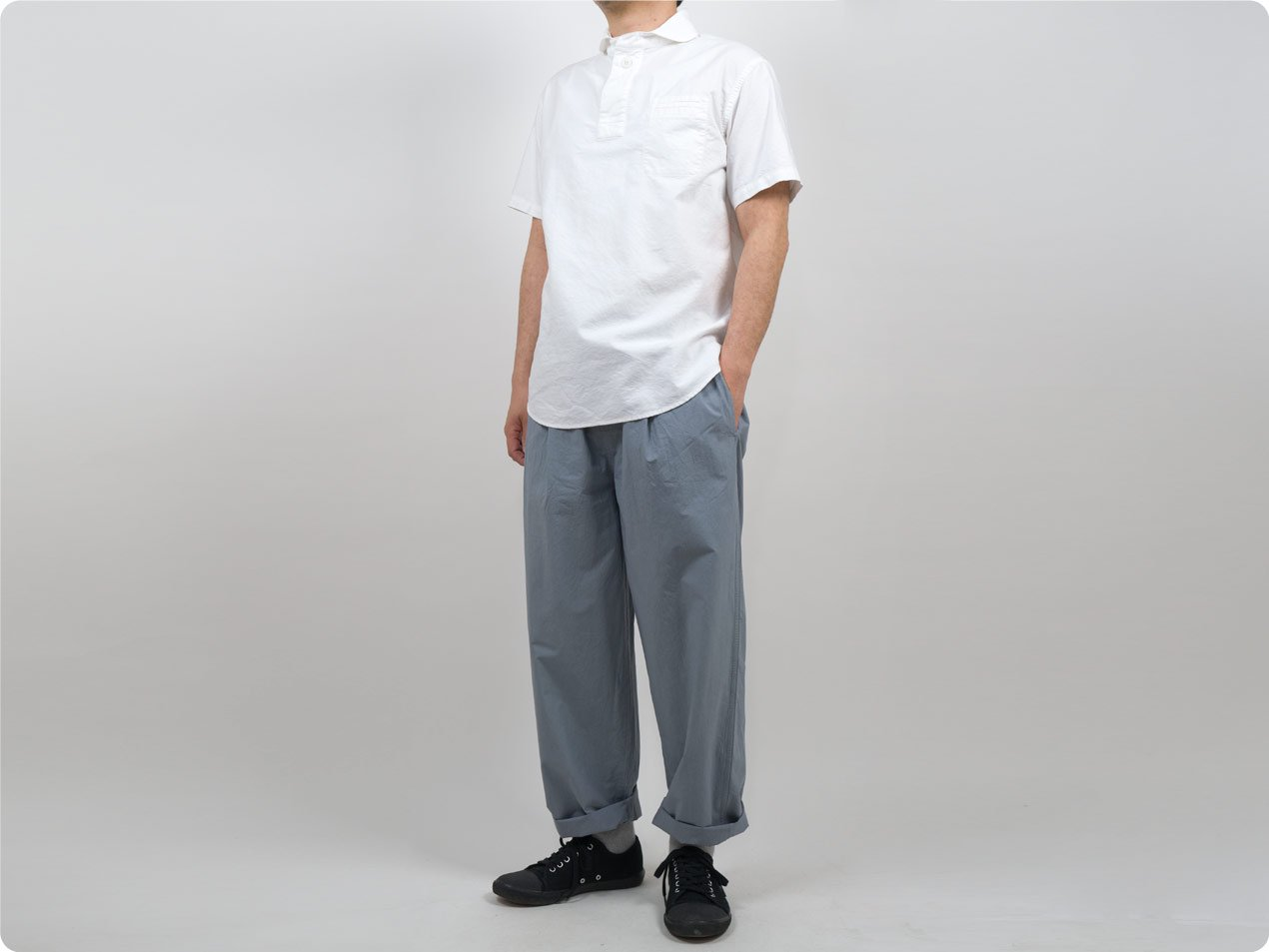 LOLO コットンプルオーバーシャツ 半袖 WHITE