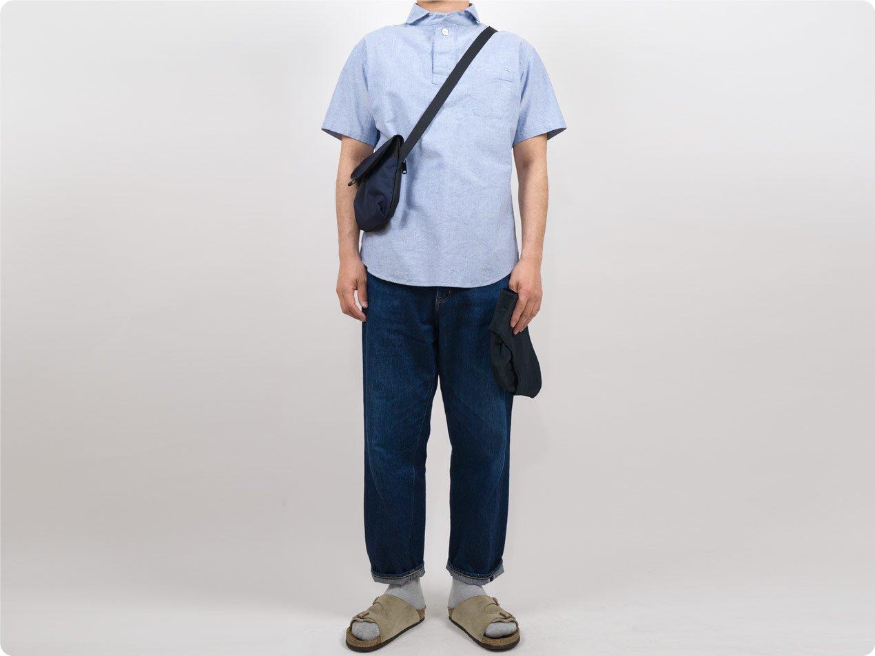 LOLO コットンプルオーバーシャツ 半袖 BLUE