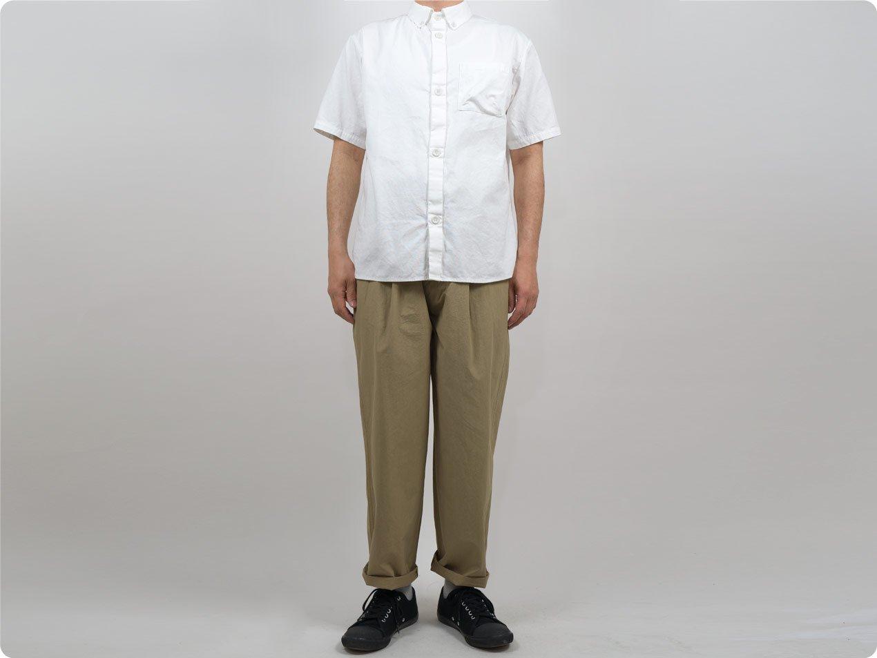 LOLO コットンボタンダウンシャツ 半袖 WHITE
