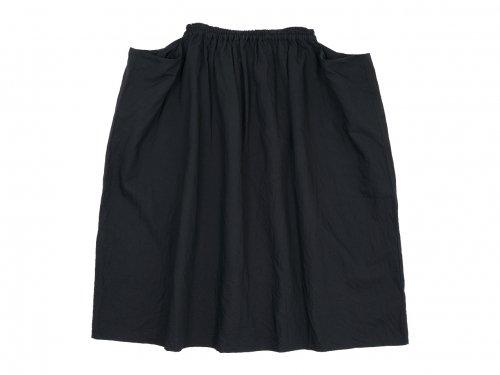 homspun コットンリネンマット ギャザースカート ブラック