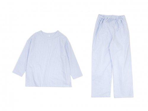 homspun コットンオックス パジャマ(巾着付き) サックスストライプ