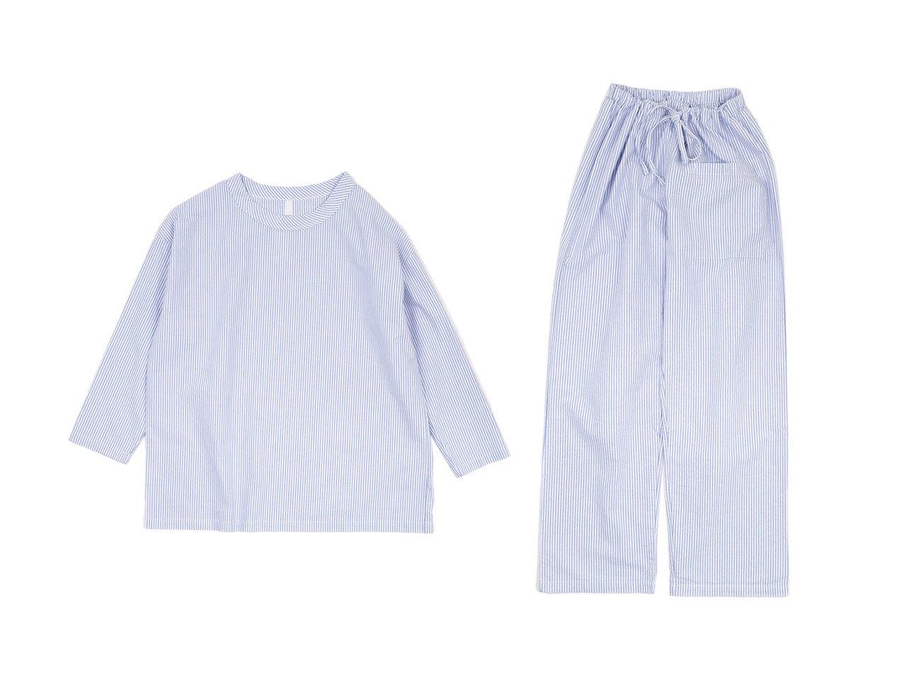 homspun コットンオックス パジャマ(巾着付き) ブルーストライプ