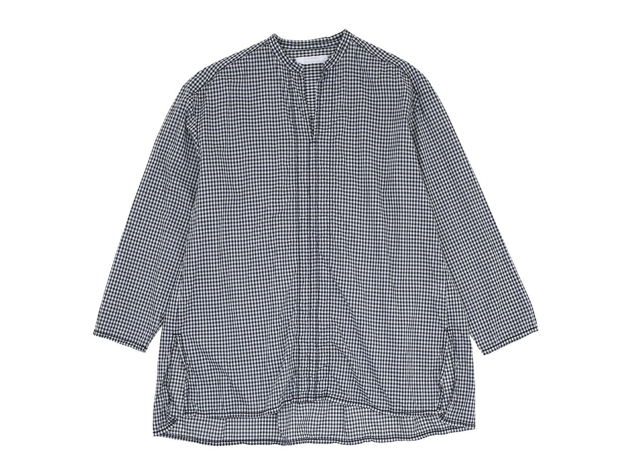 homspun 80/1ギンガム スタンドカラー プルオーバーシャツ ブラック