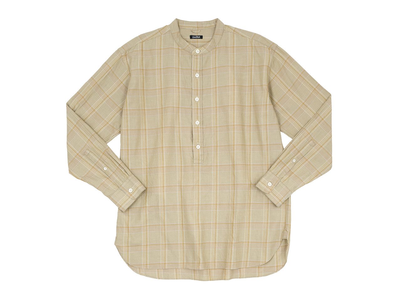 maillot mature twill check pull over stand shirts BEIGE