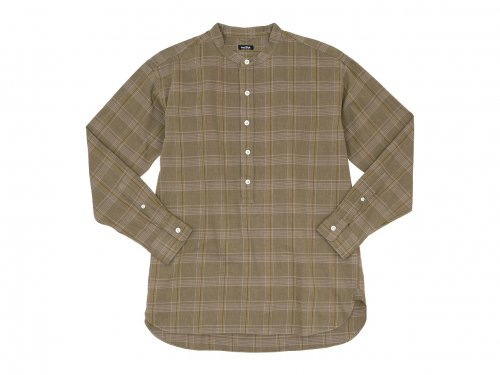 maillot mature twill check pull over stand shirts BROWN