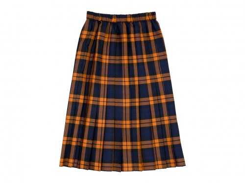 Charpentier de Vaisseau Bride O'neil of Dublin プリーツスカート Long NAVY x ORANGE CHECK