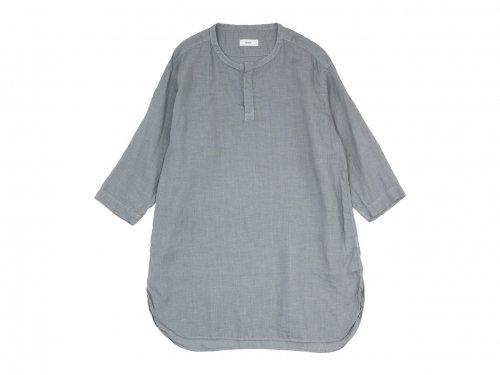 RINEN 60/1リネンローン 七分袖比翼バンドカラーシャツ 03 GRAY〔レディース〕