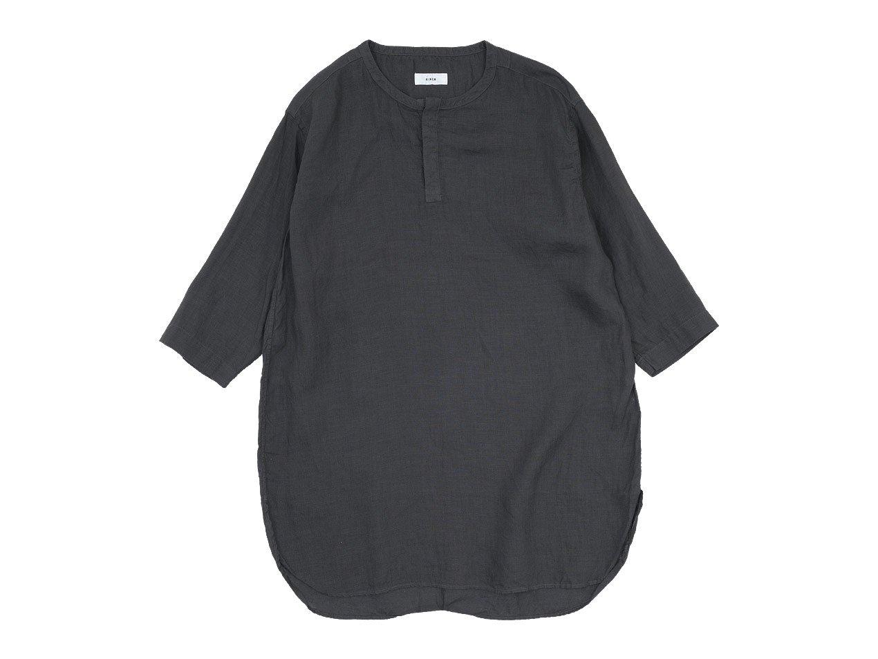 RINEN 60/1リネンローン 七分袖比翼バンドカラーシャツ 07 BROWN〔レディース〕