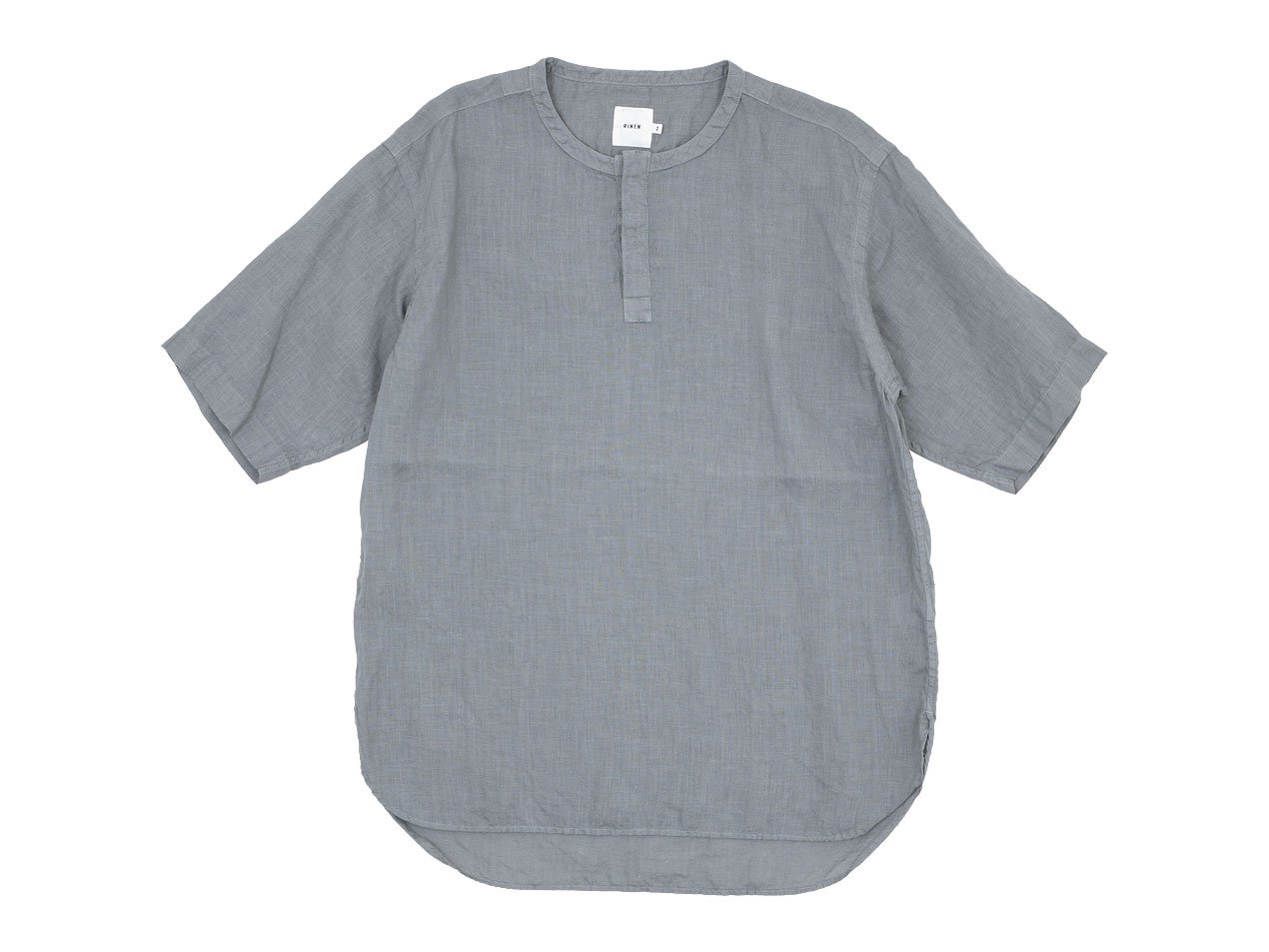 RINEN 60/1リネンローン 半袖比翼バンドカラーシャツ 03 GRAY〔メンズ〕