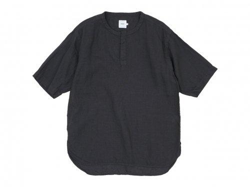 RINEN 60/1リネンローン 半袖比翼バンドカラーシャツ 07 BROWN〔メンズ〕