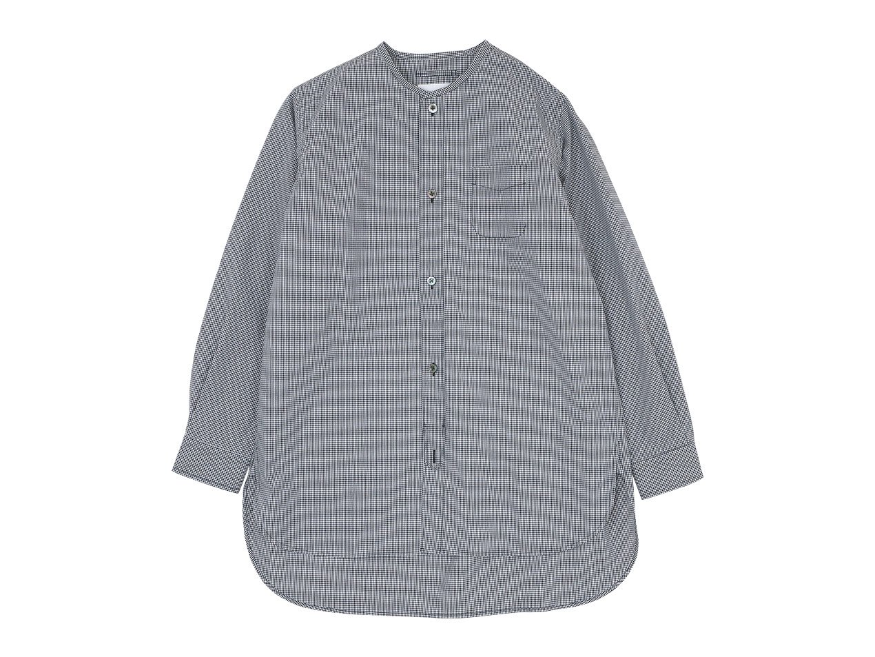 blanc no collar long shirts cotton MONOTONE GINGAM