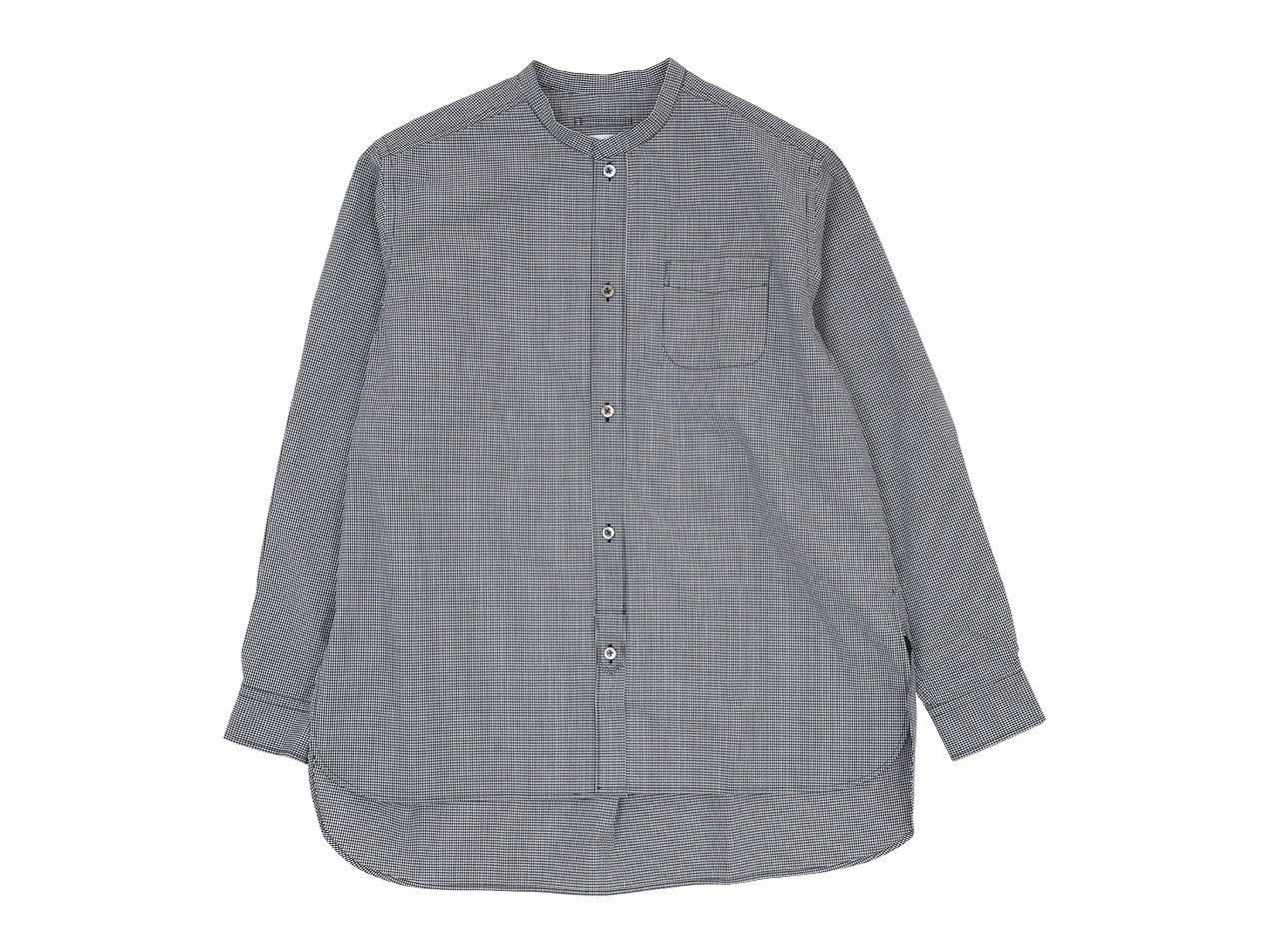 blanc no collar long shirts cotton MONOTONE GINGAM 〔メンズ〕