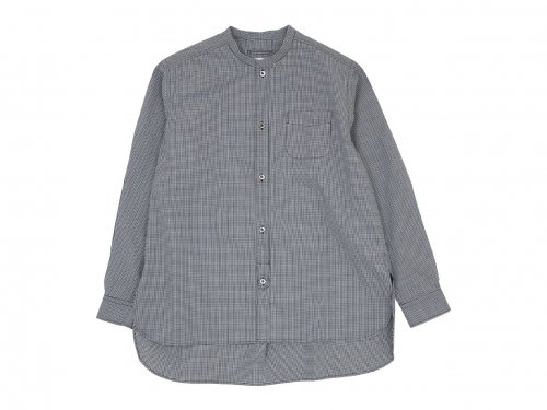 blanc no collar long shirts cotton MONOTONE GINGAM 〔メンズ〕