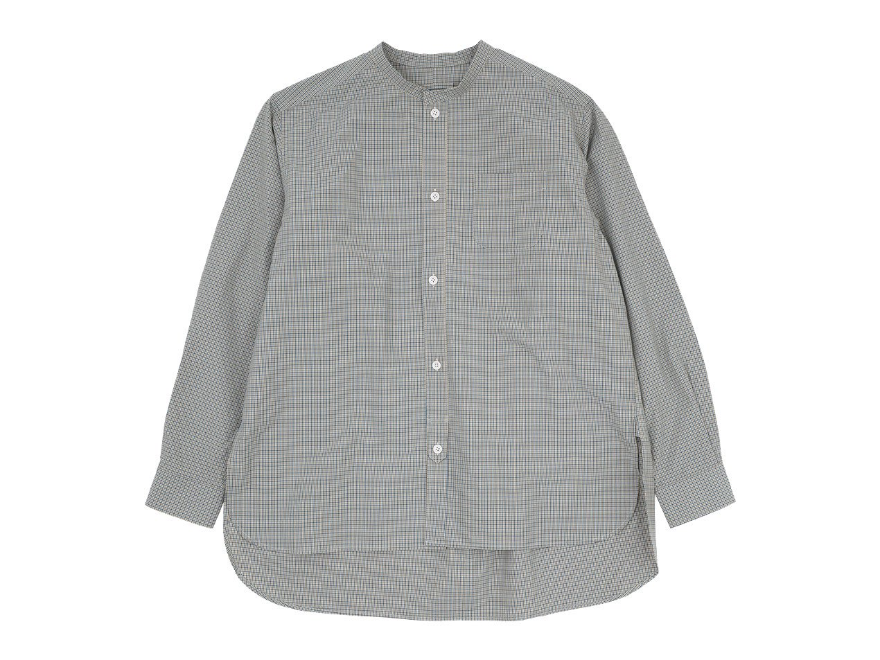 blanc no collar long shirts cotton CLASSIC GINGAM 〔メンズ〕