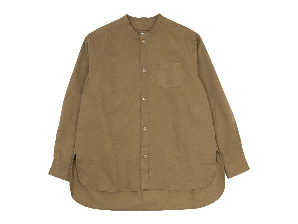 blanc 120/2高密度サテン生機染め no collar long shirts cotton BROWN 〔メンズ〕