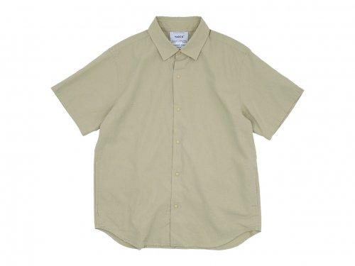 YAECA コンフォートシャツ リラックス ロング 半袖 BEIGE 〔メンズ〕
