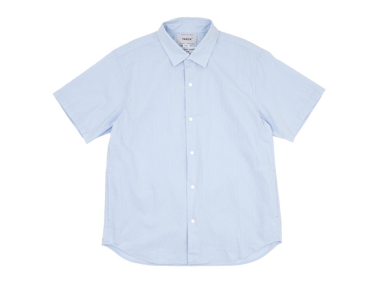 YAECA コンフォートシャツ リラックス ロング 半袖 SAX STRIPE 〔メンズ〕