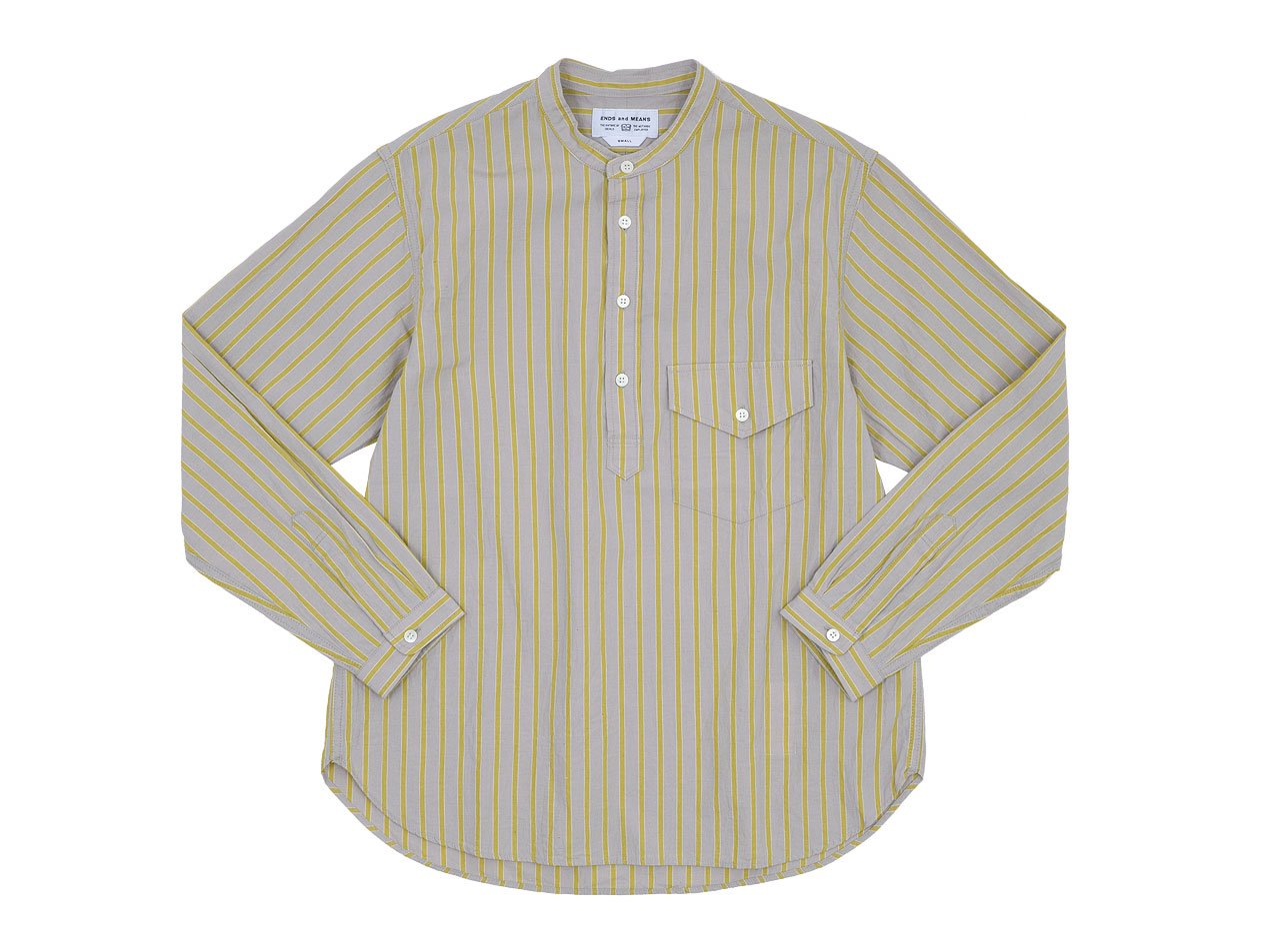 ENDS and MEANS Band Collar Shirts YELLOW STRIPE
