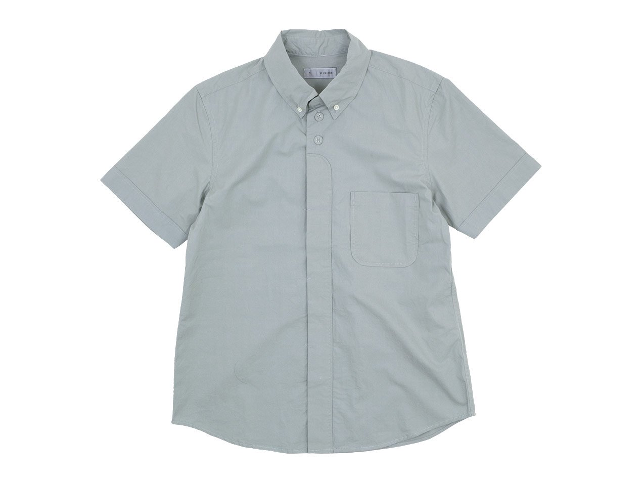 nisica ボタンダウンシャツ 半袖 GRAY