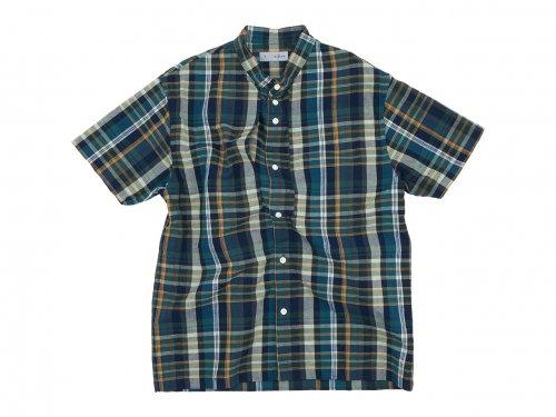 nisica バンドカラーシャツ 半袖 チェック GREEN CHECK