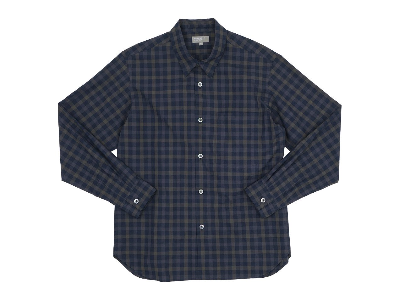 MARGARET HOWELL DARTK TONE GINGHAM COTTON POPLIN SHIRTS 121Navy 〔メンズ〕