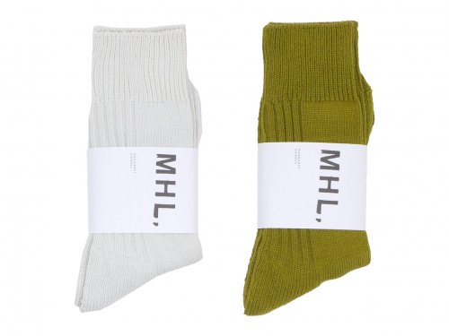 MHL. MELANGE COTTON PILE RIB SOCKS 〔メンズ〕