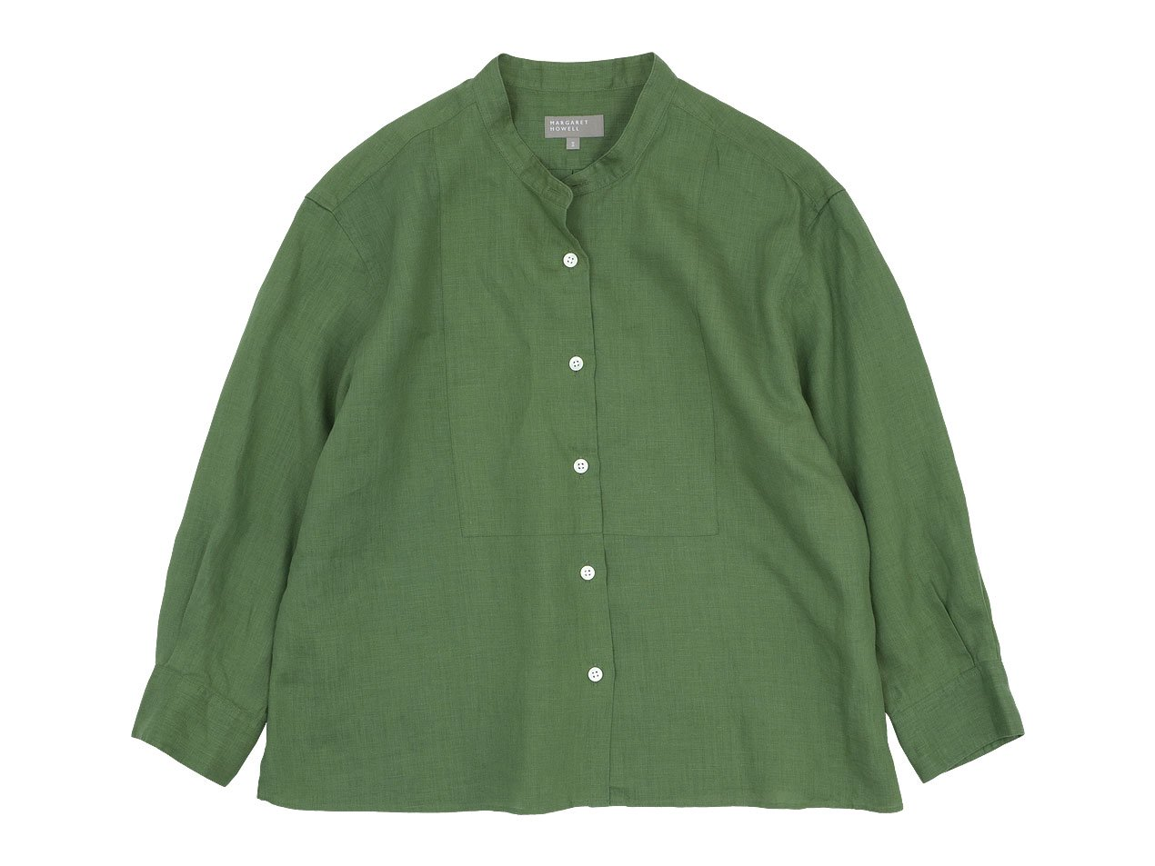 MARGARET HOWELL LINEN VOILE NO COLLAR SHIRTS 140GREEN〔レディース〕