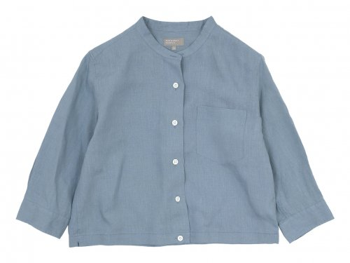 MARGARET HOWELL SHIRTING LINEN I NO COLLAR SHIRTS 110BLUE〔レディース〕